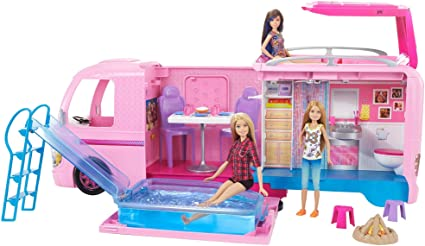 Amazon Com Barbie Camper Pops Out Into Play Set With Pool Toys Games