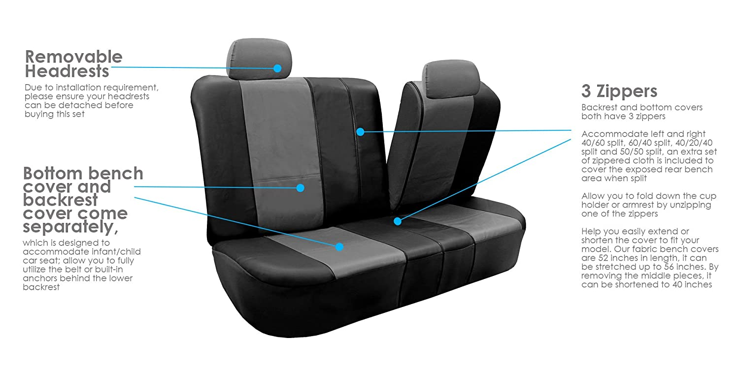 Truck or Van FH GROUP FH-PU002114 Classic PU Leather Car Seat Covers Gray // Black Airbag compatible and Split Bench- Fit Most Car Suv
