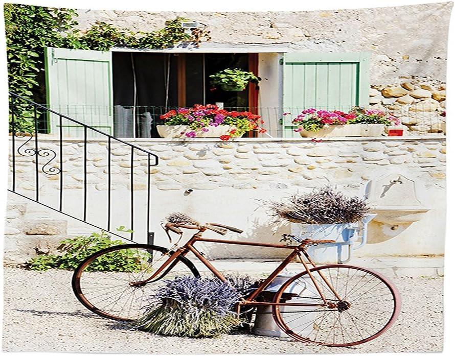 vipsung Bicicleta decoración Mantel Europea francés mediterráneo casa Rural de Piedra con una Bicicleta Campo Provence día Fotos habitación de Comedor Cocina Rectangular Funda para Mesa: Amazon.es: Hogar