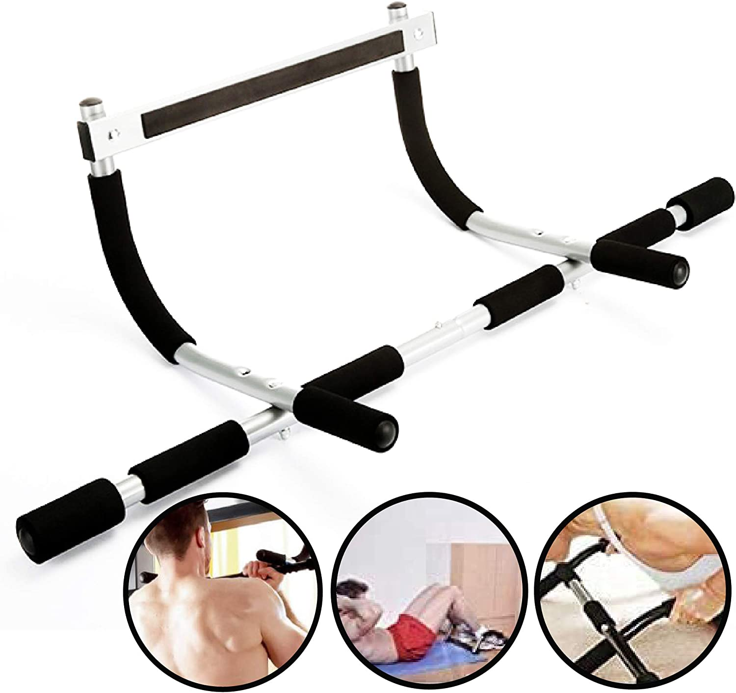 TOMUM Pull Up Bar for Doorway - Multi Grip Chin Up Pull-Up Bar with Foam Covered Handles - Premium Exercise Equipment for Home Fitness - Portable Multi Gym System for Men Trainers Upper Body Workouts