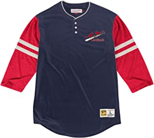 Mitchell & Ness St. Louis Cardinals MLB Home Stretch 3/4 Sleeve Henley Shirt
