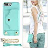 """iPhone 7 Plus Case/8 Plus Case Wallet, LAMEEKU iPhone 8 Plus Leather case with Credit Card Holder Slot,Shockproof Cover with Crossbody Strap & Wrist Strap for iPhone 7 Plus/8 Plus 5.5"""" Mint Green"""