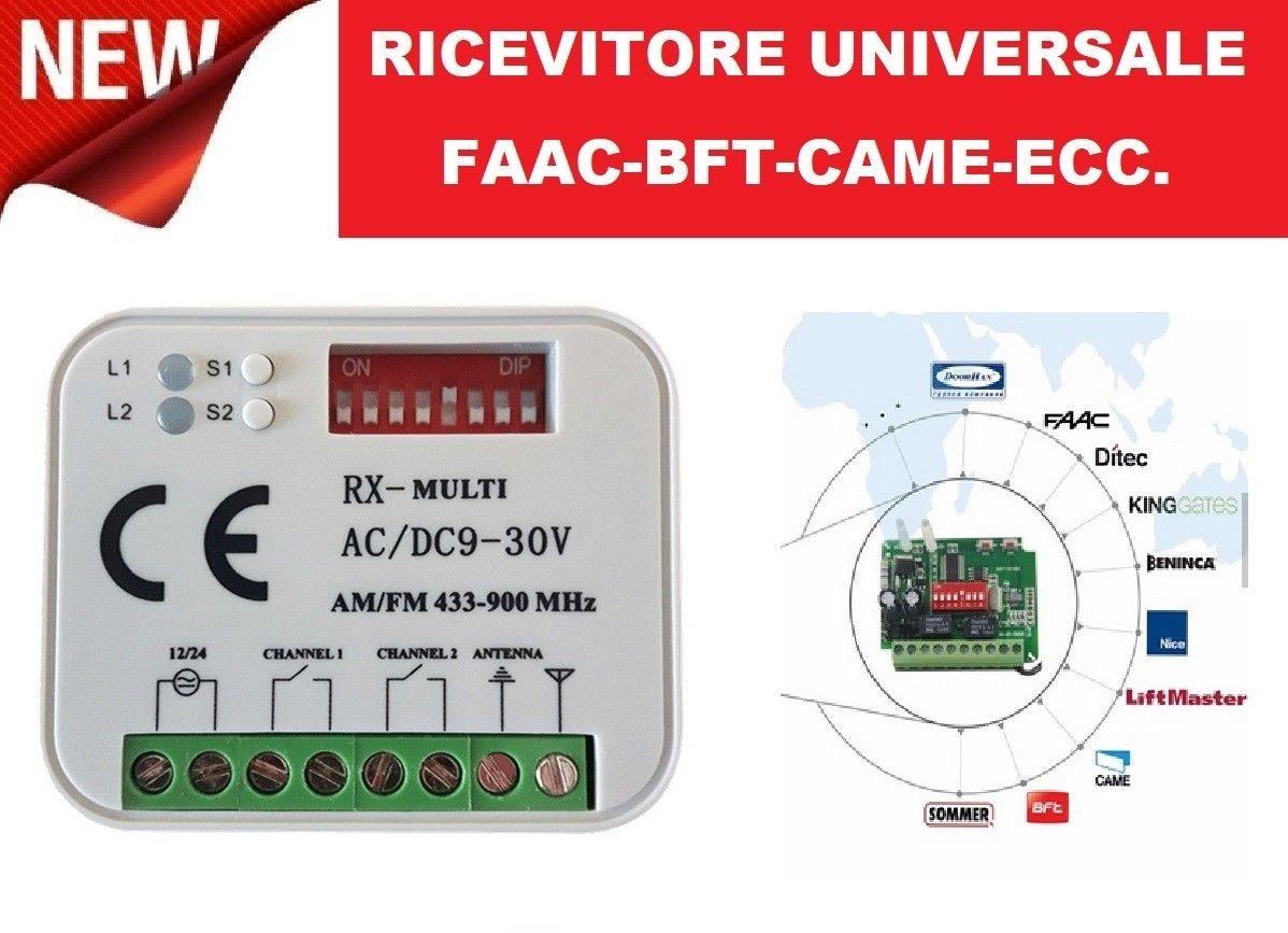 Ré cepteur universel Radio Ré cepteur 2 canaux té lé commandes té lé commande fAAC Nice BFT Came et nombreuses autres marques fré quence 433 ou 868 MHz 12 –  30 V AC