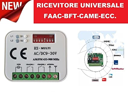 Universal Radio Receiver with 2 Channels and a Remote Control - FAAC