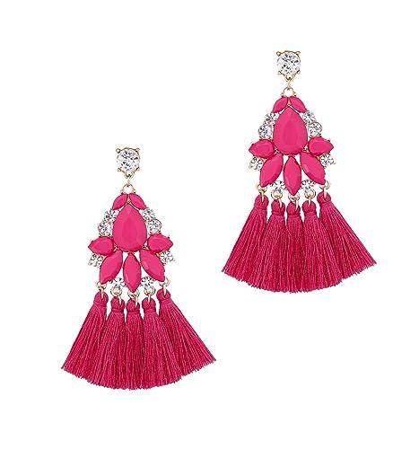 e58f7c1ca33a7e Tassel Earrings Statement Crystal Drop Dangle Earrings Boho Fringe  Chandelier Acrylic Earrings for Women (Hot