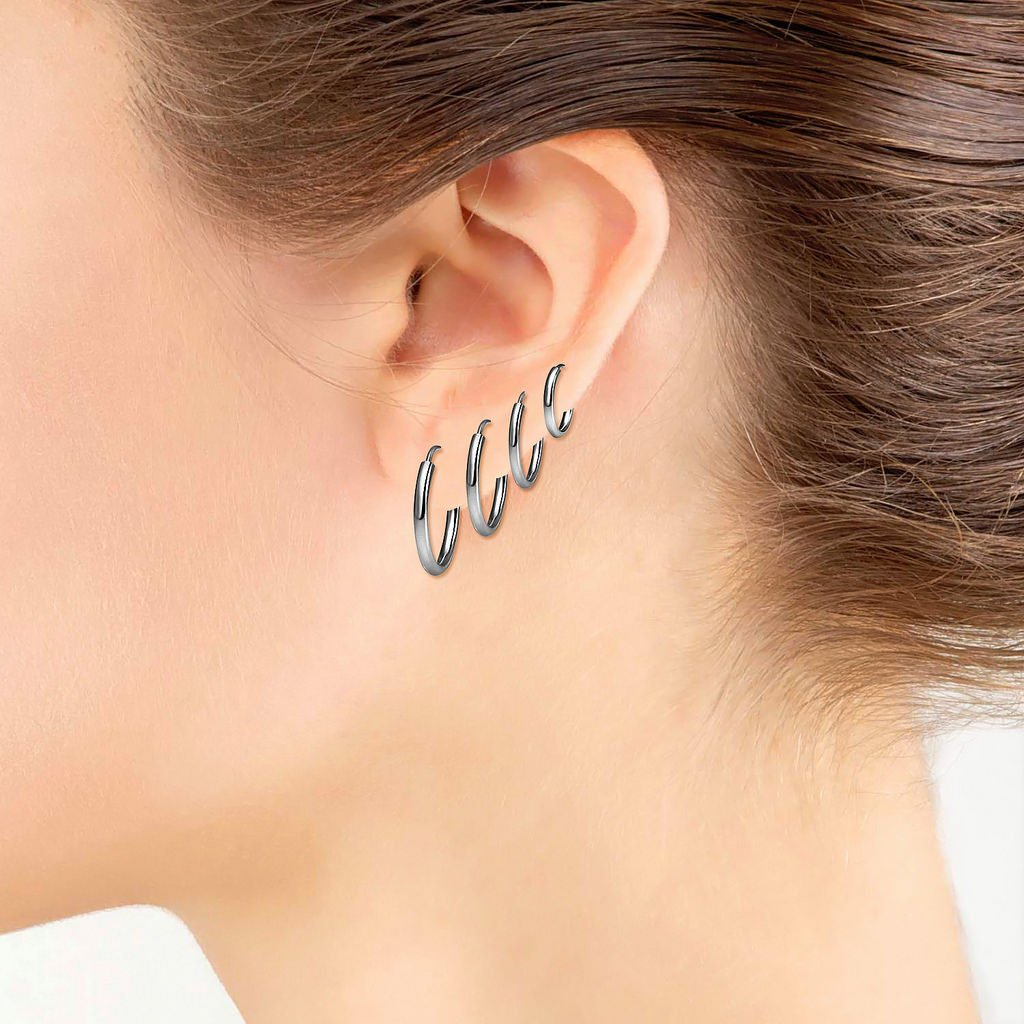 Set of Four Sterling Silver Small Endless 1.2mm x 10mm, 12mm, 14mm & 16mm Lightweight Thin Round Unisex Hoop Earrings Black Flashed Rhodium Finish by Silverline Jewelry (Image #2)