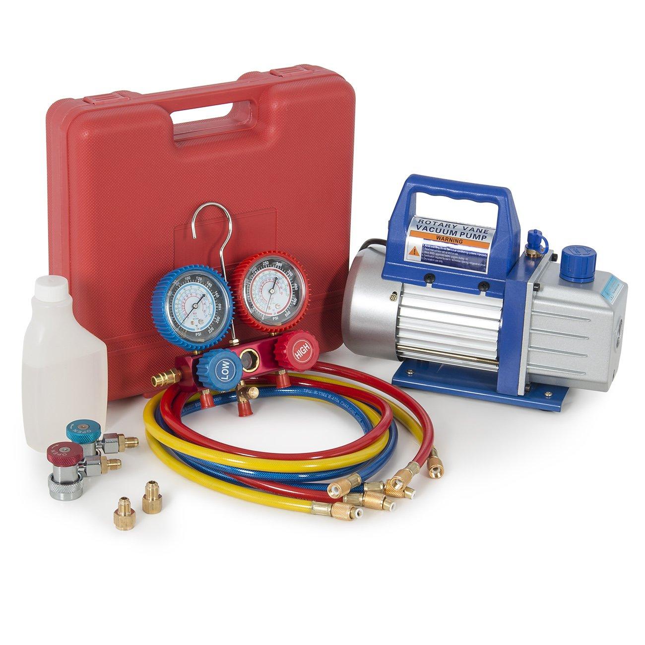 ARKSEN 4CFM Vacuum Pump and Gauge A/C Diagnostic