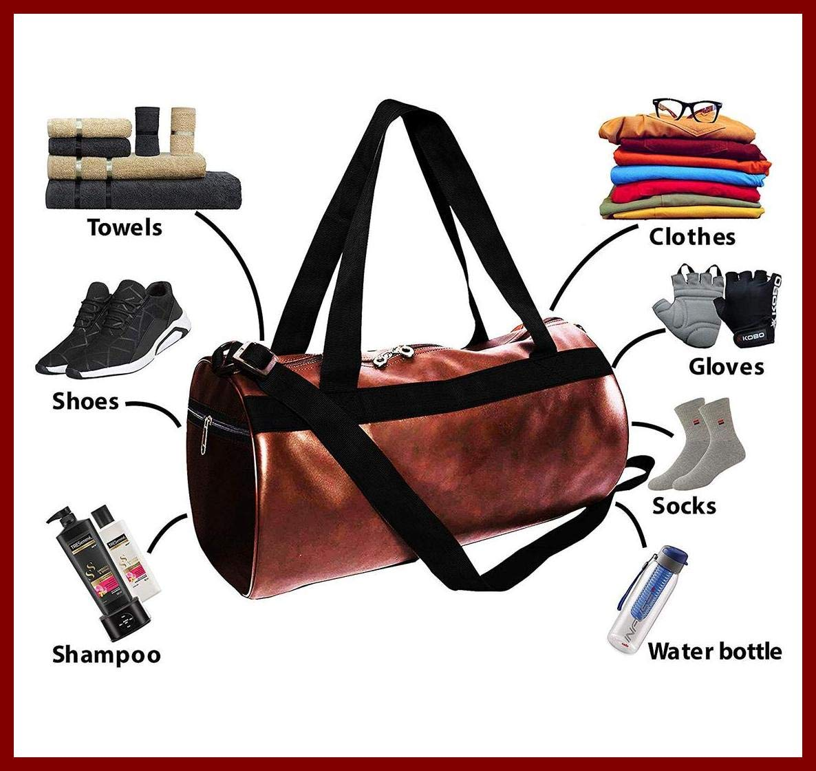 Priish Leather Fitness Gym Bag Shoulder Duffel Backpack for Travel with Side Compartments for Men and Women Gym Basketball Football Cricket Kit Multipurpose - Large (Brown and Black) (Brown) product image