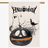 Large Happy Halloween House Flag 28''X40'' | Vertical Double Sided Fall Garden Flag | Rustic Halloween Decorations…