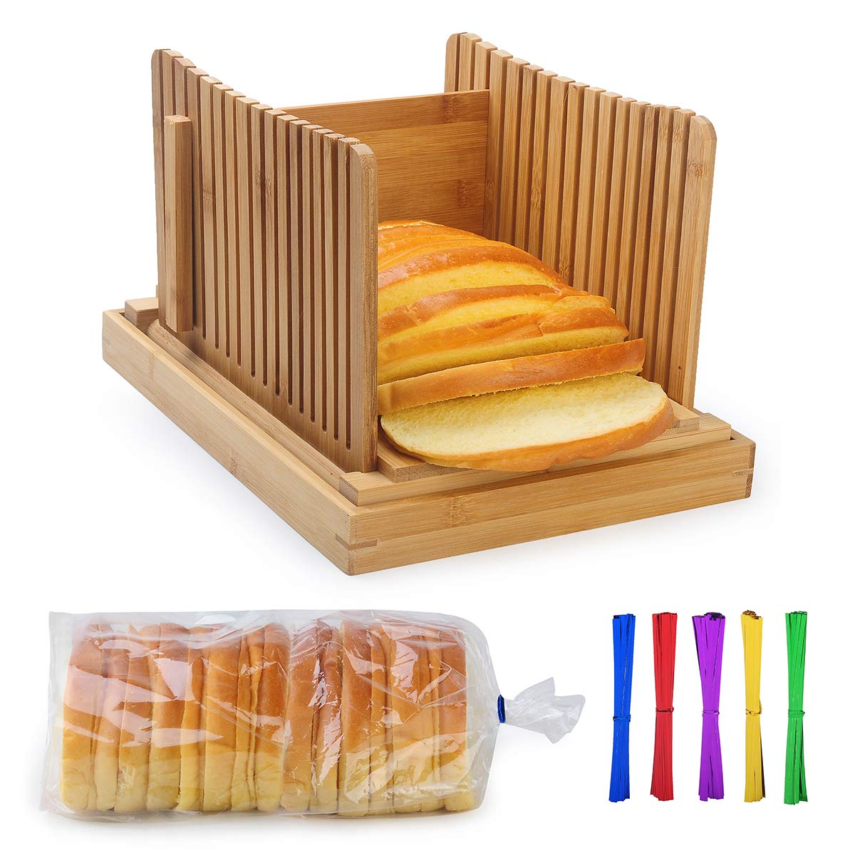 AKUNSZ Bamboo Bread Slicer Guide with Crumb Catcher, Adjustable Bread Loaf Slicer Foldable Bread Cutter Slicer - Thickness Adjustable 1/4'',3/8'',1/2''(Assembled Size 5.5''x9.3''x7'')