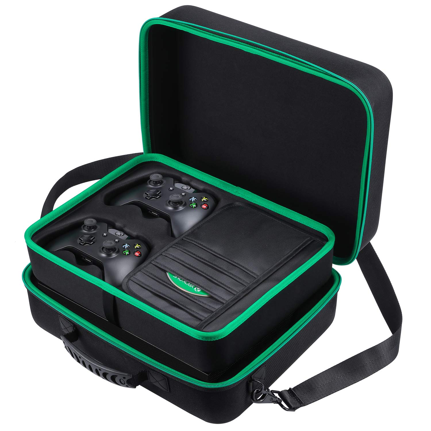 Zadii Hard Carrying Case Compatible with Xbox One X Fit Xbox One X Console 2 Wireless Controllers Power Cable HDMI Cable Game Discs and Other Accessories