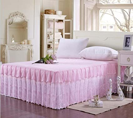 Amazon Com Princess Romantic Lace Bedding Fitted Sheet Bed Skirt