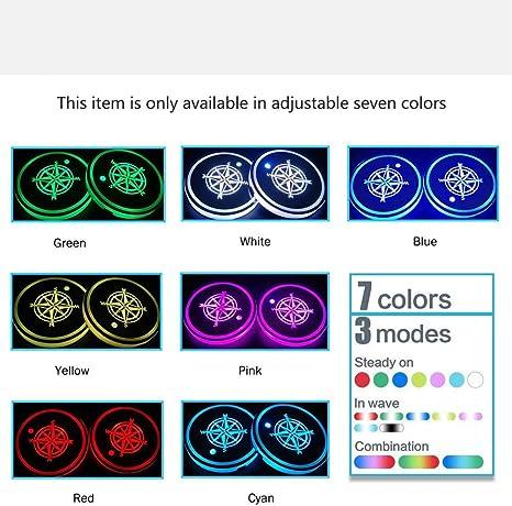 HOPQ Portavasos para Coche con dise/ño de Huella de Perro Luces LED RGB para Coche