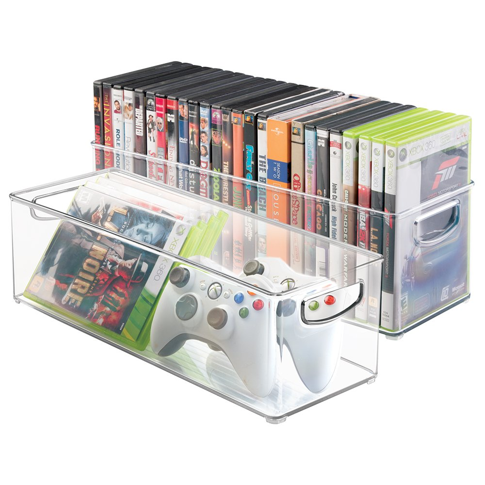Amazon.com: MDesign Household Storage Bin For DVDs, PS4 And Xbox Video  Games   Pack Of 2, Large, Clear: Office Products