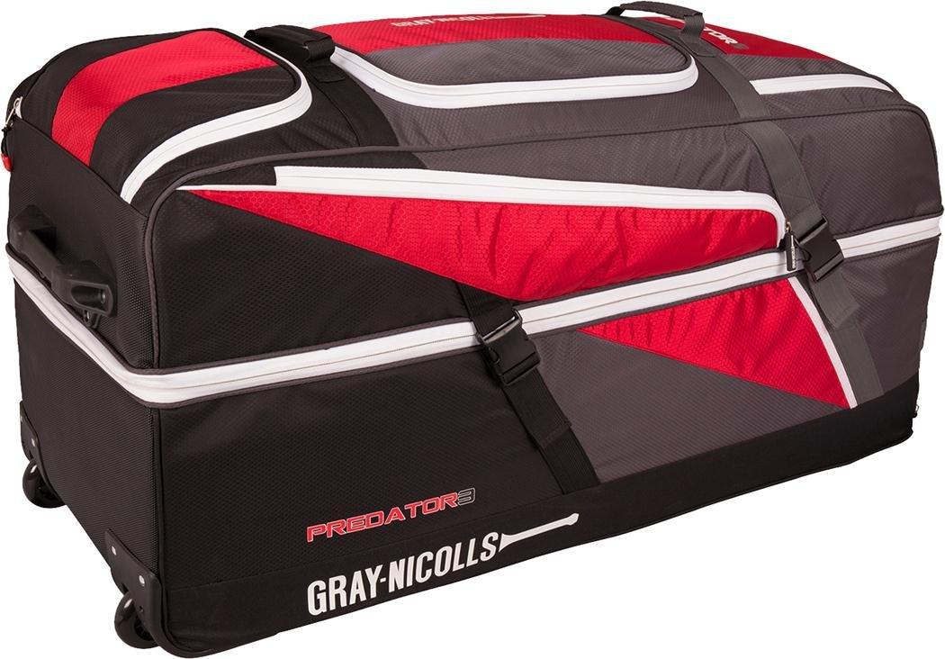 Gray-nicolls Predator 3 1500 Cricket Wheelie Holdall Team Kit Bag Red/black/grey Only Cricket