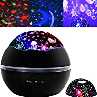 KUOOAN 2 in 1 Ocean Undersea Lamp and Starry Sky Projector, 360° Rotating 8 Colors Mode LED Night Lights Projector for…