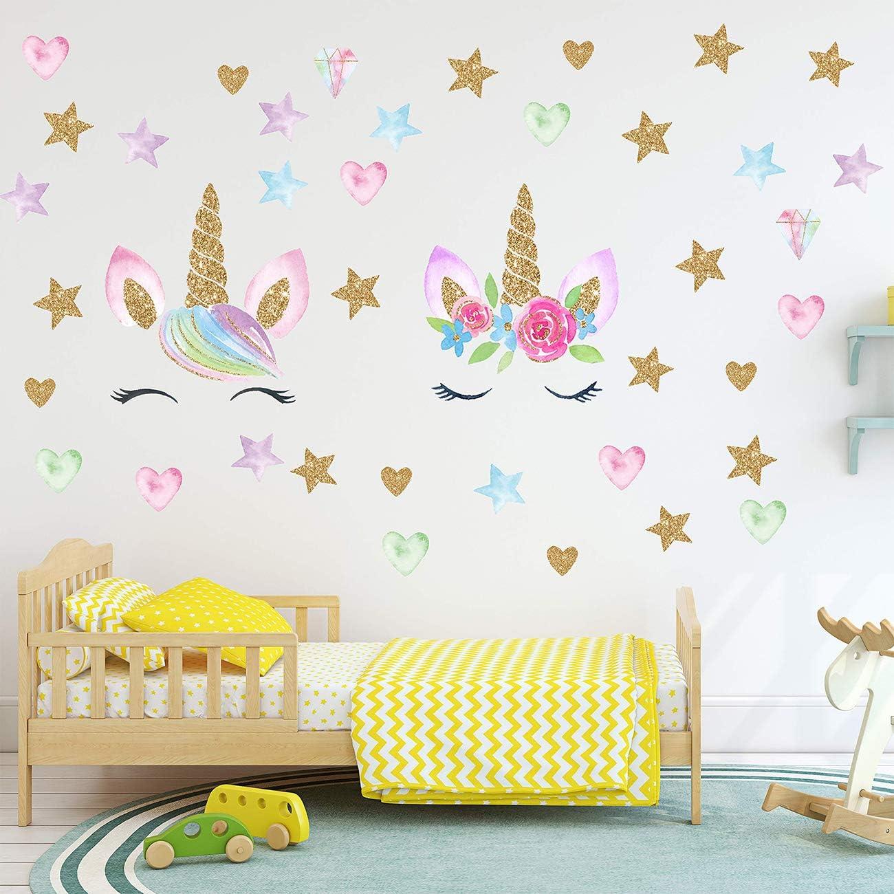 Beautiful Home Wall Art Sticker,2 Pack Unicorn Wall Decals Unicorn Wall Sticker Decor with Heart Flower Birthday Christmas Gifts for Boys Girls Kids Bedroom Decor Baby Nursery Room Home Decor