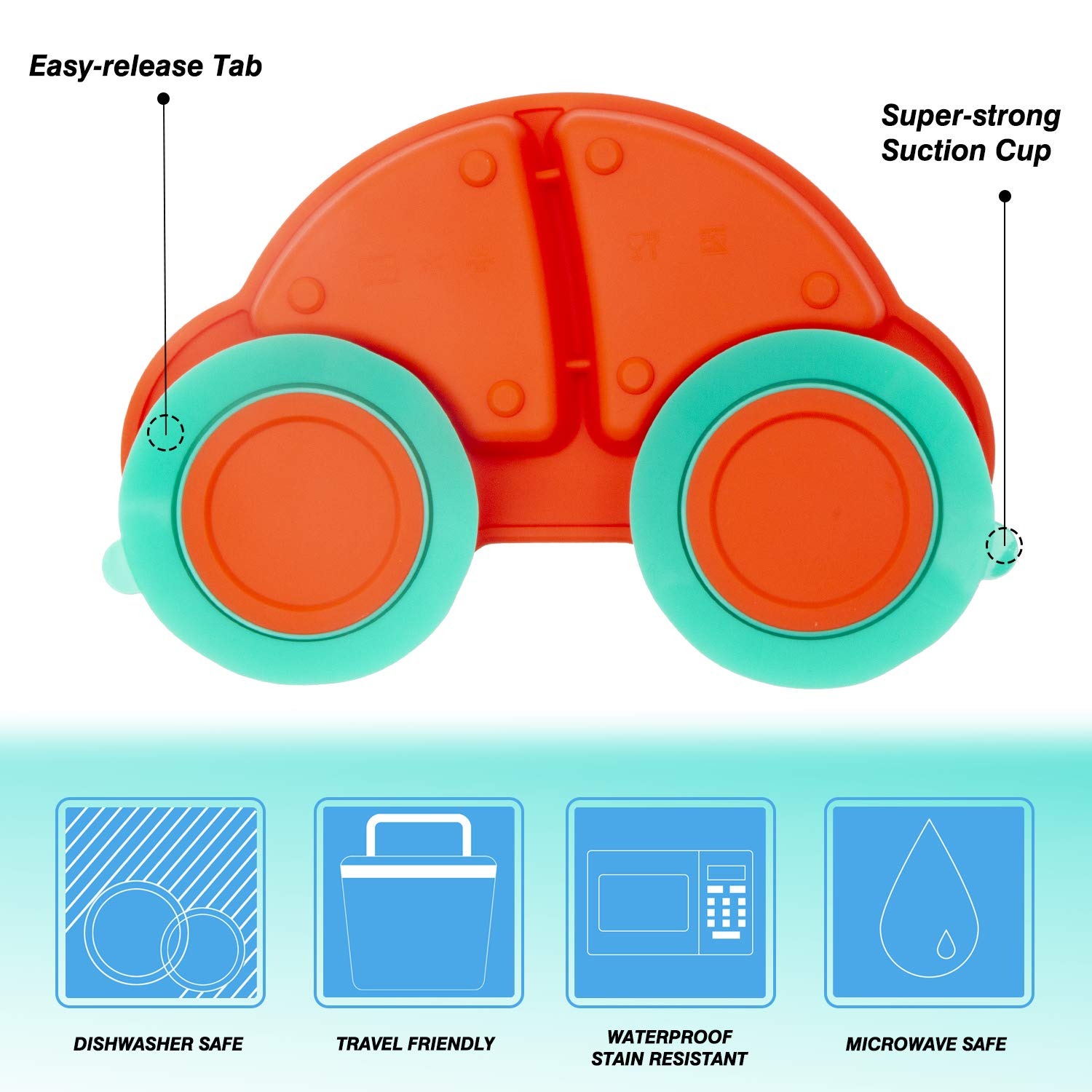 Qshare Toddler Plate Portable Baby Plate for Toddlers and Kids BPA-Free FDA Approved Strong Suction Plates for Toddlers Dishwasher and Microwave Safe Silicone Placemat 24 * 17 * 3cm