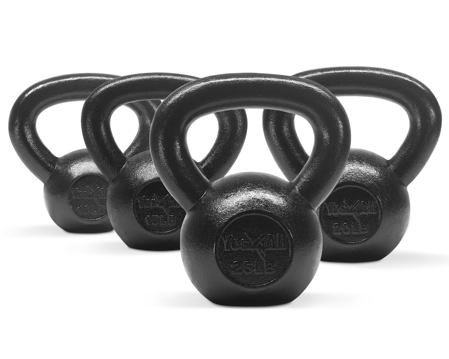 Yes4All Combo Cast Iron Kettlebell Weight Sets – Great for Full Body Workout and Strength Training – Kettlebells 10 15 20 25 lbs (Black)