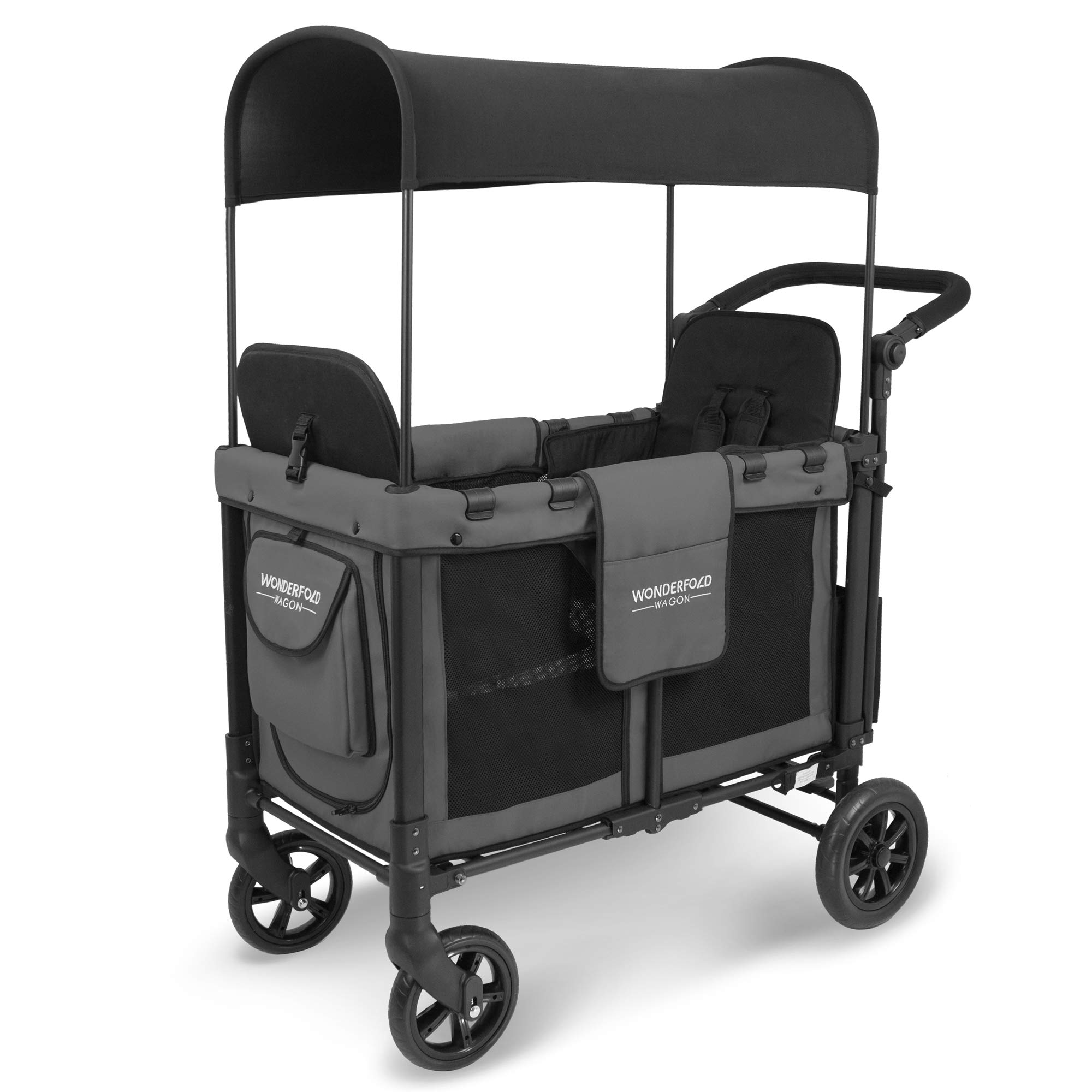 WonderFold Multi-Function Push 2 Passenger Double Folding Stroller, Adjustable Canopy & Removable Chair Seat Up To 2 Toddlers (Charcoal Gray) by WonderFold (Image #1)