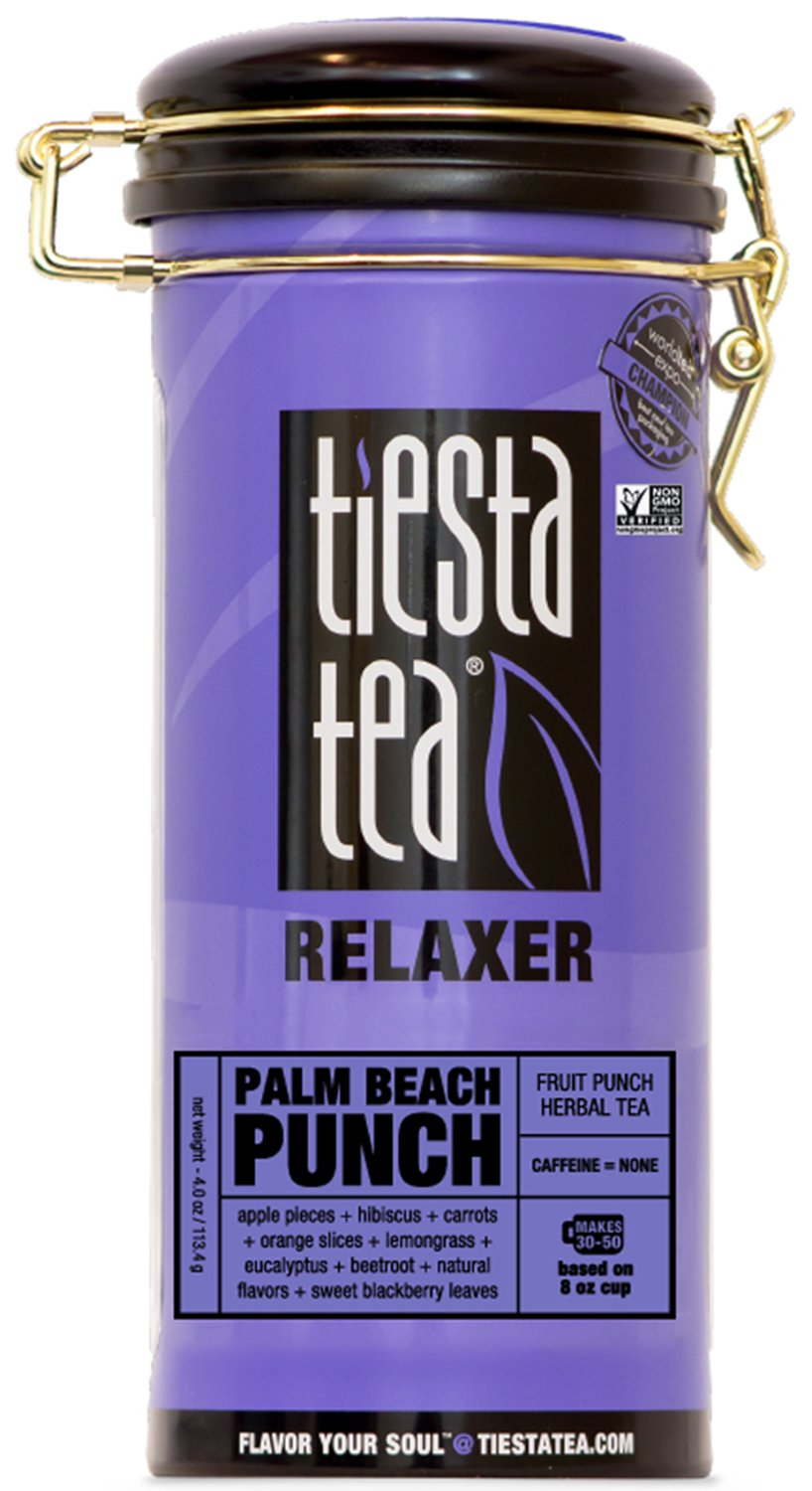 Fruit Punch Herbal Tea | PALM BEACH PUNCH 4 Ounce Tin by TIESTA TEA | Caffeine Free | Loose Leaf Herbal Tea Relaxer Blend | Non-GMO
