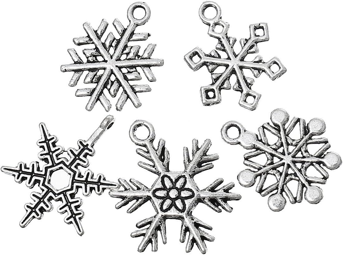 Housweety 50 Mixed Silver Tone Christmas Snowflake Charm Pendants