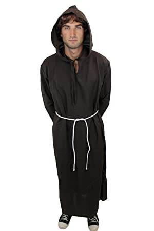 DRESS ME UP - L022/56 Disfraz hombre hábito monje sacerdote cura monasterio L022, talla: 38, S