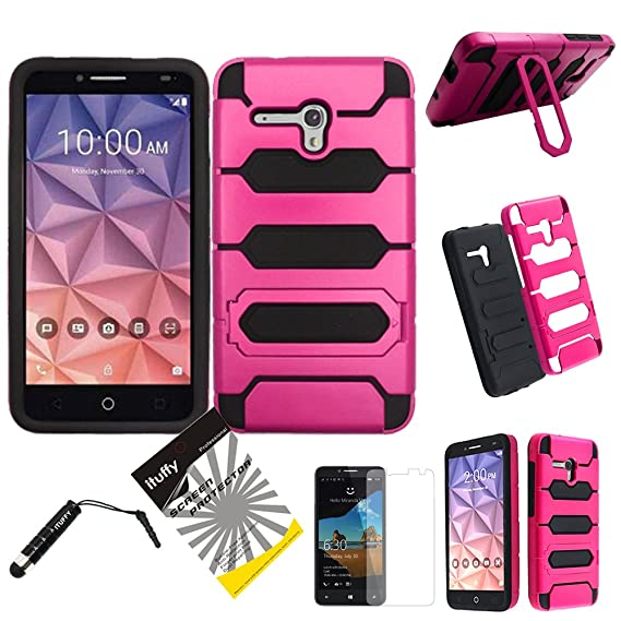 For Alcatel OneTouch Fierce XL 5054 ITUFFY 3items: Screen Film+Stylus Pen+Dual Layer Impact Resistance Plastic Cover Soft Rubber KickStand Hybrid Case ...