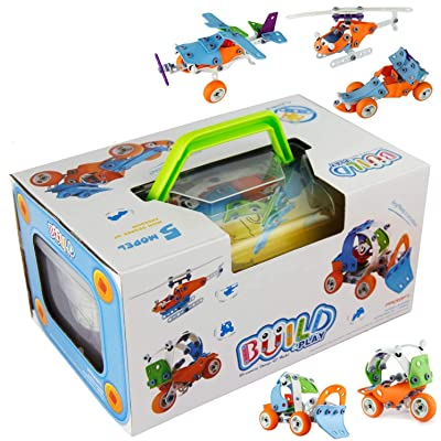 PBOX DIY Building Toys for Toddler 132Pcs 5-in-1 Creative stem Stacking Toys, Learning Block Set for Boys and Girls Educational Construction Engineering Set Up Toy (Old Packing): Toys & Games
