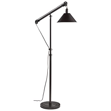 Stone & Beam Modern Pully Floor Lamp, 64 H, With Bulb, Brushed dark brown