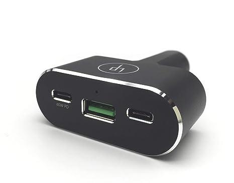 LIFEPOWR - Cargador de Coche con certificación de 96 W, USB Tipo C y USB