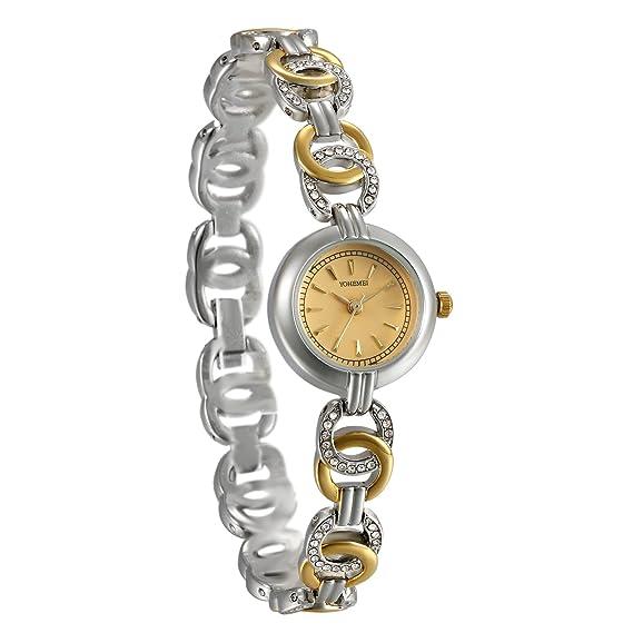 JewelryWe - Reloj de pulsera para mujer, resistente al agua, cuarzo, esfera analógica