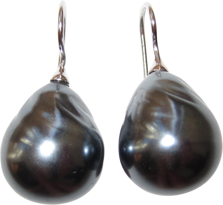 Clásica Pendientes con una preciosa grises barroco perla de cristal y plata de ley