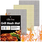 BBQ Grill Mesh Mat Set of 3 - Non Stick Barbecue Grill Sheet Liners Teflon Grilling Mats Nonstick Fish Vegetable Smoking Acce