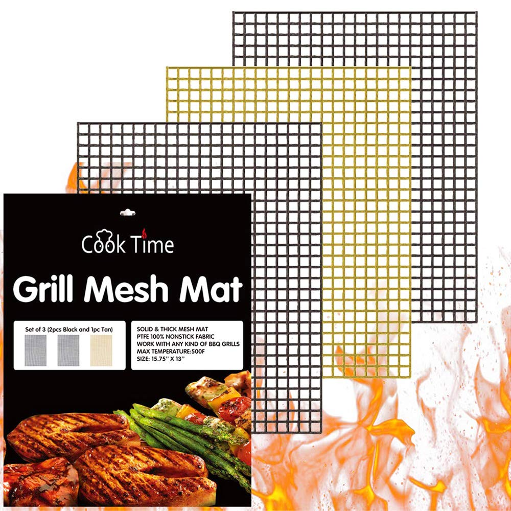 BBQ Grill Mesh Mat Set of 3 - Non Stick Barbecue Grill Sheet Liners Teflon Grilling Mats Nonstick Fish Vegetable Smoking Accessories - Works on Smoker,Pellet,Gas, Charcoal Grill,15.75x13inches by Cook Time