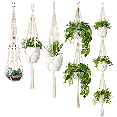 Mkono Macrame Plant Hanger Set of 5 Indoor Wall Hanging Planter Basket Flower Pot Holder Boho Home Decor Gift Box: Garden & Outdoor