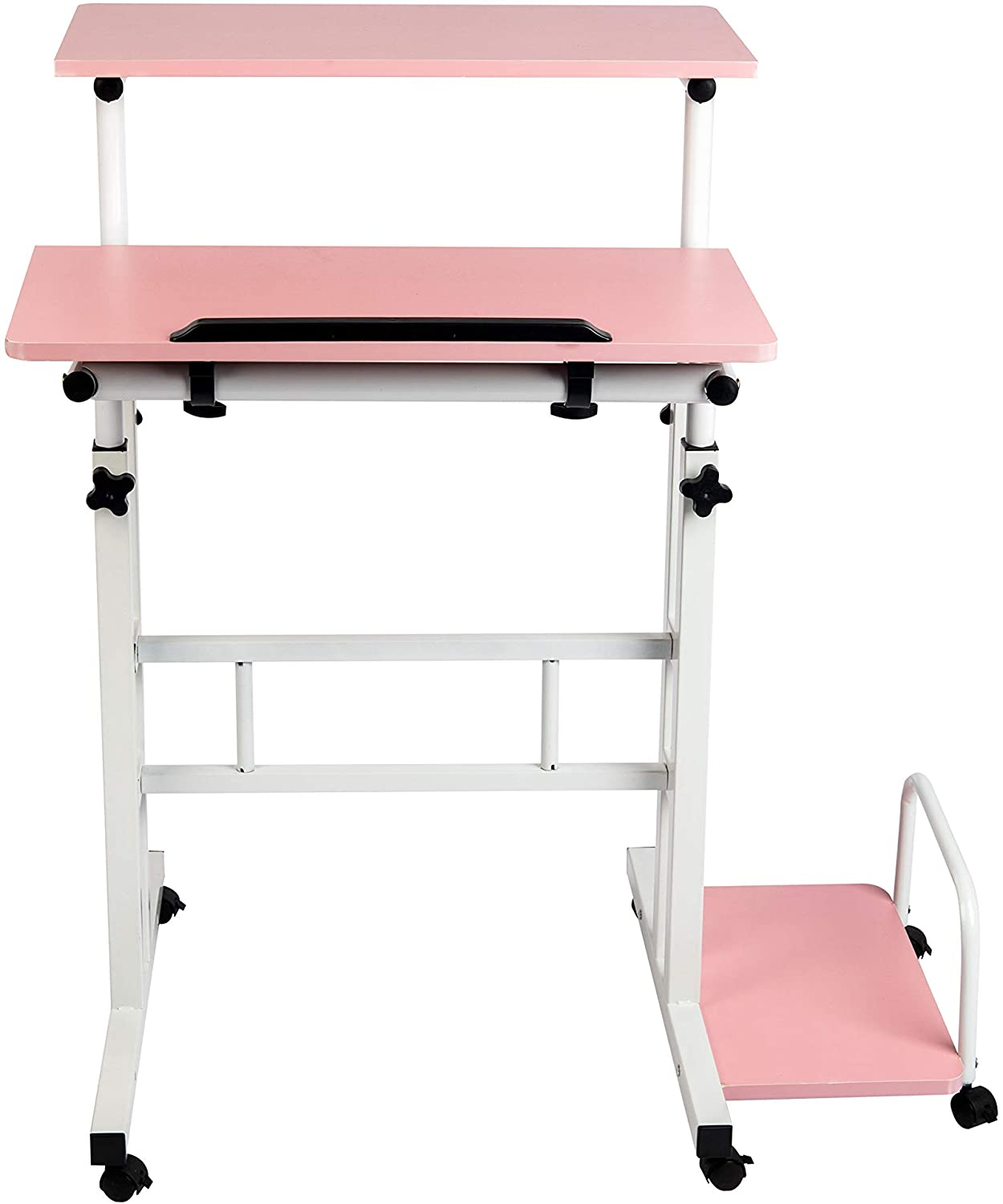 Mind Reader Mobile Sitting, Standing Desk Rolling Reversible Home Office Laptop Workstation with Side Storage, Locking Wheels, Large, Pink