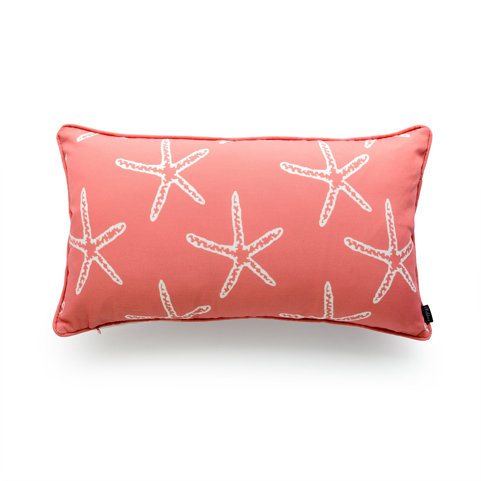 Hofdeco Decorative Lumbar Pillow Cover OUTDOOR WATER RESISTANT Canvas Coral Love Starfish 12''x20''