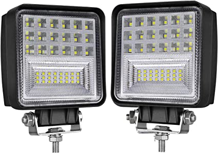 2~10X 126W Square LED Work Light Super Bright Combo Lamp For Jeep Offroad Truck