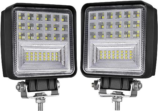 2 Pack Spot /& Flood Light Off Road Light 4inch 126W Square LED Work Light Led Fog Light Truck Light Driving Light Boat Light for Truck Pickup Jeep SUV ATV UTV Waterproof LED Light Pods