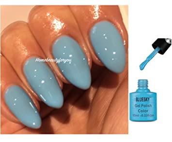 Bluesky 80555 Light Sky Blue Splash Lagoon Nail Gel Polish UV