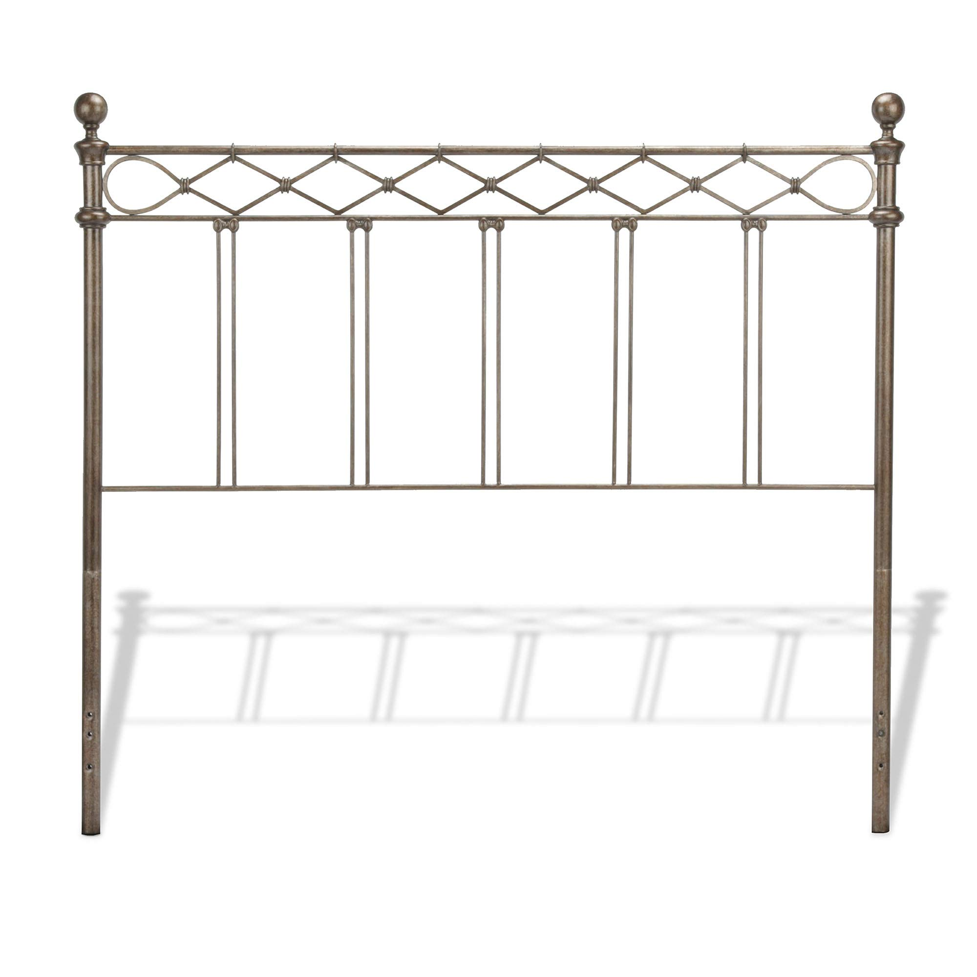 Leggett & Platt Argyle Metal Headboard Panel with Diamond Pattern Top Rail and Double Spindle Castings, Copper Chrome Finish, King