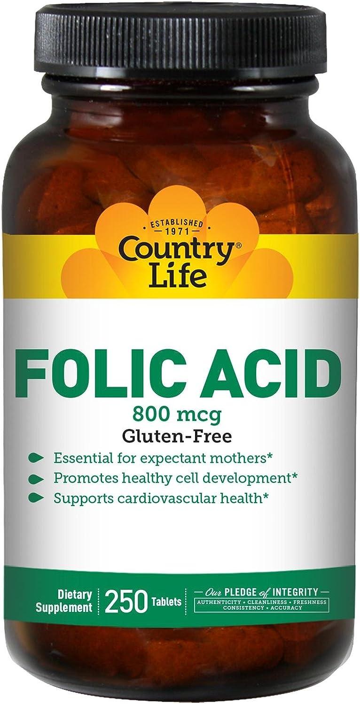 Country Life Folic Acid -- 800 mcg - 250 Tablets