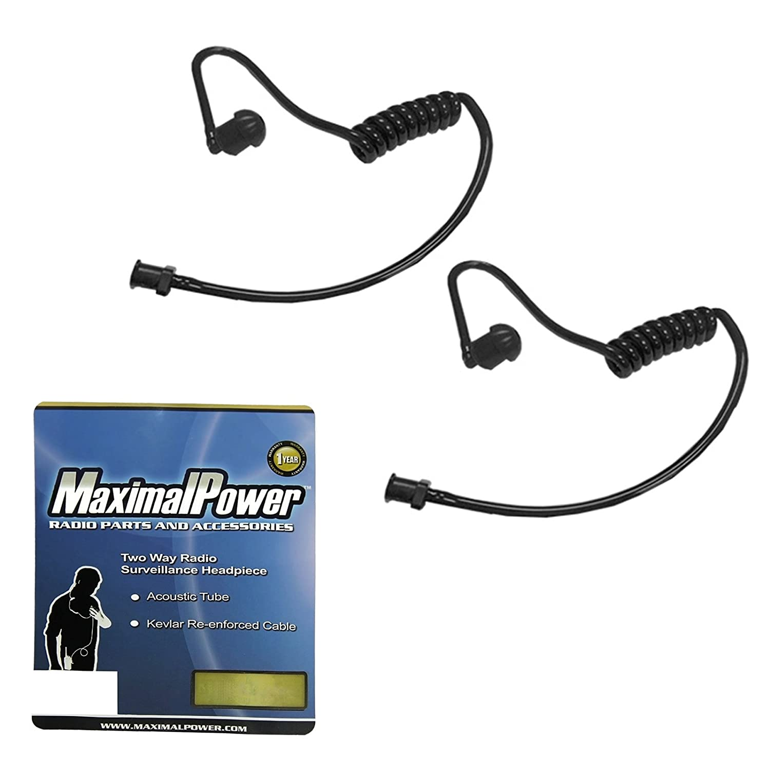Pack of 2 FBI Style Black Twist On Replacement Acoustic Tube for Two-Way Radio Headsets by MaximalPower