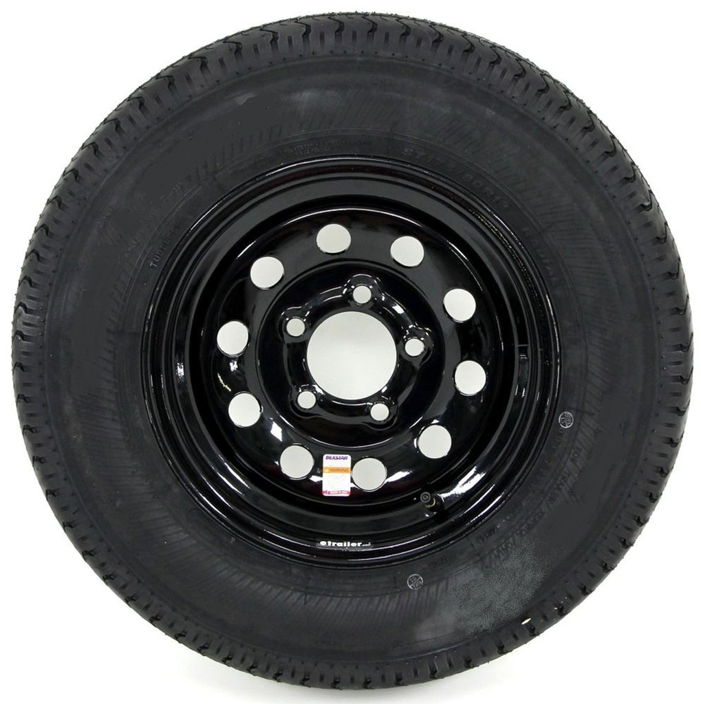 eCustomRim Trailer Tire On Rim ST175/80R13 Load Range D 13X4.5 5-4.5 Black Modular 3.19CB