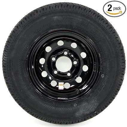 13X4.5 5-4.5 White Spoke 2-Pack Radial Trailer Tires Rims ST185//80R13C 1480 Lb