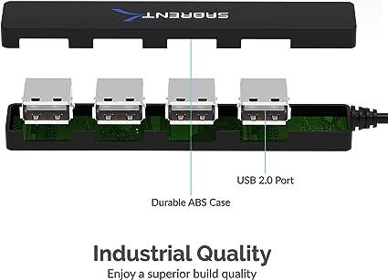 Sabrent 4 Ports Anschlüsse Tragbarer Usb 2 0 Hub Für Computer Zubehör