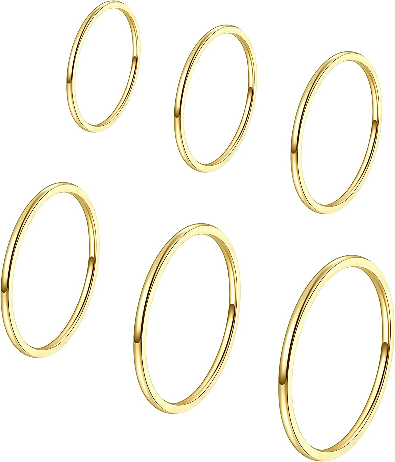 ALEXTINA Women's 6 Pieces Stainless Steel 1MM Thin Midi Stacking Rings Plain Band Comfort Fit Size 4 to 9