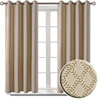 BGment Embossed Blackout Curtains for Bedroom - Grommet Thermal Insulated Room Darkening Curtains for Living Room, 52 x 45 Inch, Set of 2 Panels, Beige