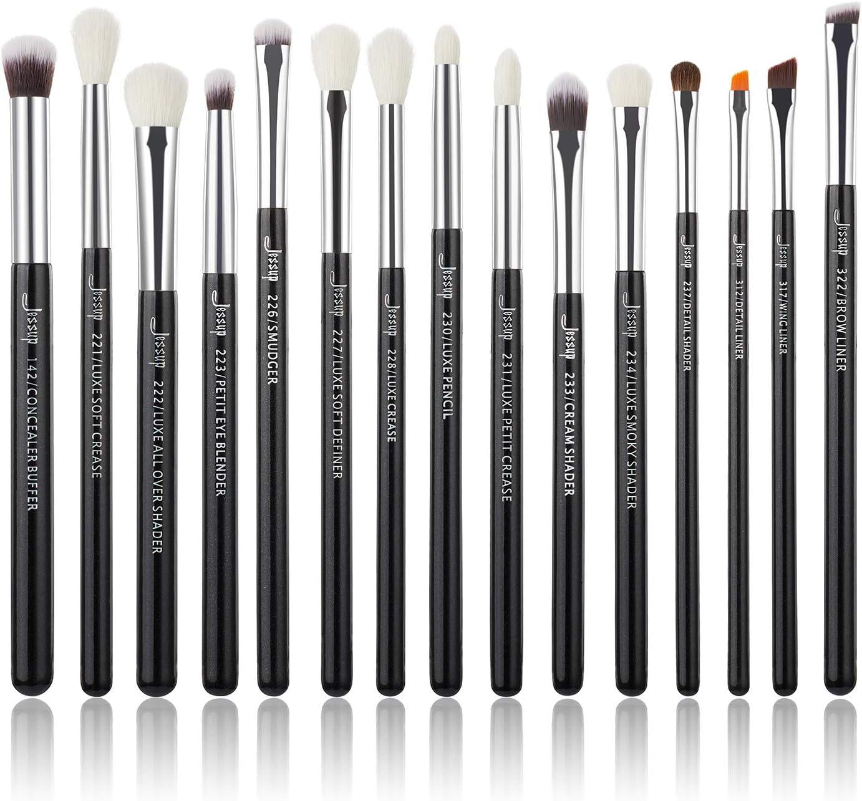 Jessup juego de 15 pinceles profesionales de maquillaje, herramientas cosméticas, para pestañas, sombras, mango de madera, cepillos sintéticos, color perla/negro/plata T177